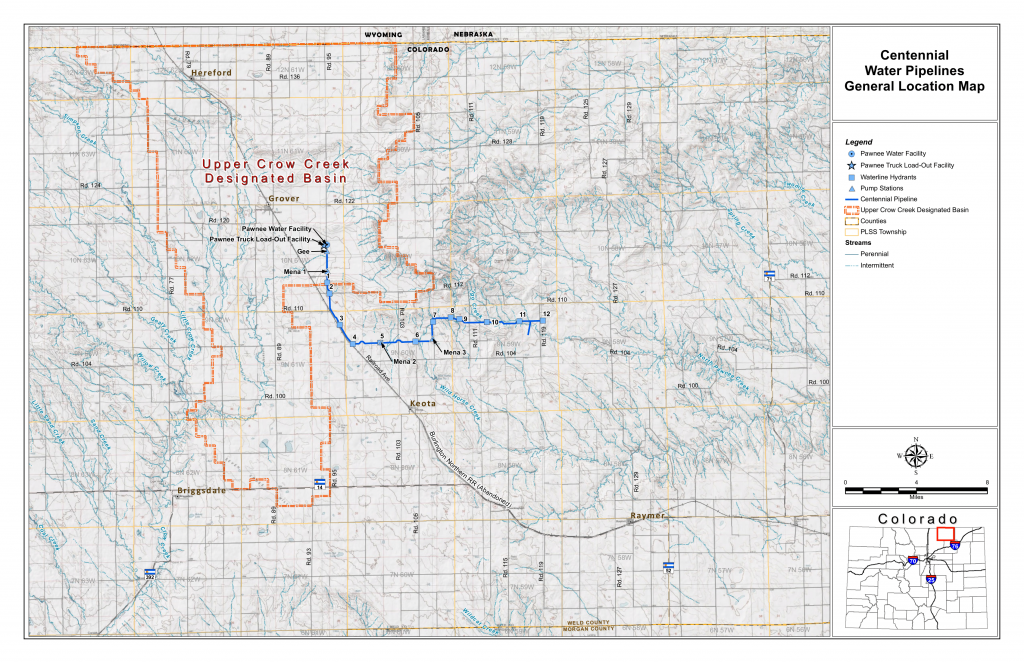 centennial water pipelines general location map